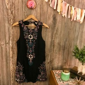 {ecote} black mirrored medallion printed dress m